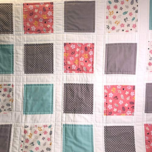 All natural cotton baby girl toddler quilt in soft aqua peach grey white flowers