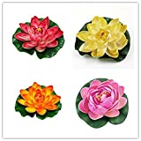 4PCS Set 18cm/7inch Artificial EVA Lotus Floating Water Lily Blooming Foam Flower Head Pool Fish Tank Pond Home Garden Decoration (Color 3)