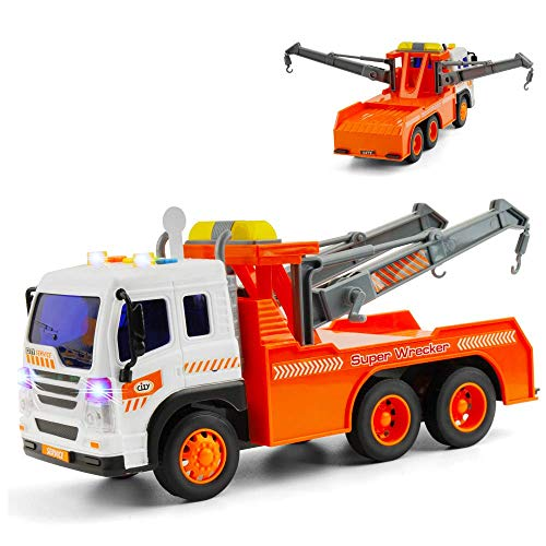 - Gizmovine Toy Truck Heavy Duty Wrecker Tow Truck Police Construction Toys for Boys with Friction Power (with Double Hooks)