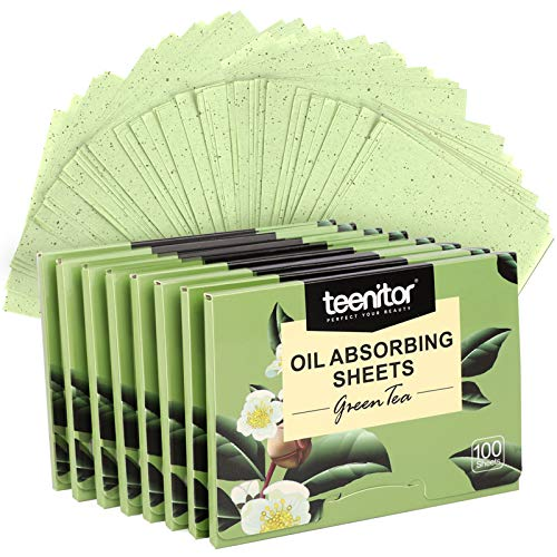 800 Counts Natural Green Tea Oil Control Film, Teenitor Oil Absorbing Sheets for Oily Skin Care, Blotting Paper to…