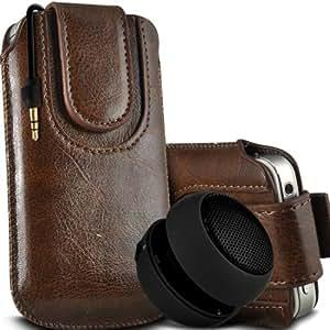 Wiko Darkmoon premium protección PU botón magnético ficha de extracción Slip In Pouch Pocket Cordón piel cubierta de la caja de liberación rápida y Mini recargable portátil de 3,5 mm Cápsula Viajes Bass Speaker Jack Brown por Spyrox