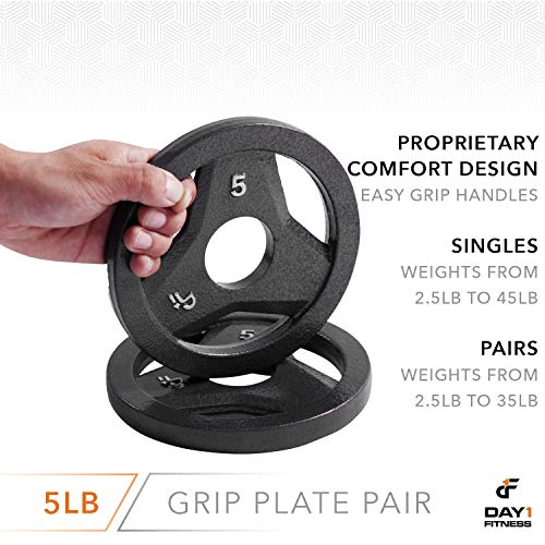 """Day 1 Fitness Cast Iron Olympic 2-Inch Grip Plate for Barbell, 5 Pound Set of 2 Plates Iron Grip Plates for Weightlifting, Crossfit - 2"""" Weight Plate for Bodybuilding by Day 1 Fitness (Image #4)"""