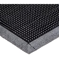 "Durable Corporation 396S2432BK Heavy Duty Rubber Fingertip Entrance Mat, for Outdoor Areas, 24"" Width x 32"" Length x 5/8"" Thickness, Black"