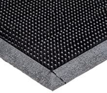 """Durable Corporation 396S1624BK Heavy Duty Rubber Fingertip Entrance Mat, for Outdoor Areas, 16"""" Width x 24"""" Length x 5/8"""" Thickness, Black"""