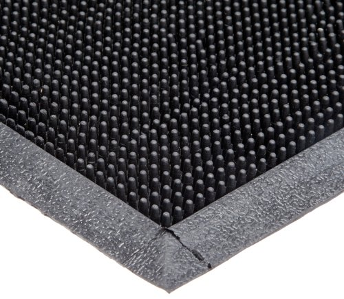 Durable Corporation Heavy Duty Rubber Fingertip Entrance Mat, for Outdoor Areas, 16' Width x 24' Length x 5/8' Thickness, Black