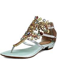 ShoeN Tale Women Rhinestone Party Show Handmade Flats Thong Sandals