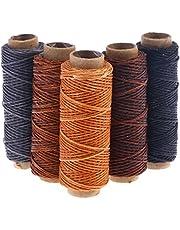 SUPVOX 5pcs 50m hilo de cera cordón encerado plano Costura del cordón de cuero Herramienta Craft