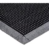 "Durable Heavy Duty Rubber Fingertip Outdoor Entrance Mat, 32"" x 39"", Black"