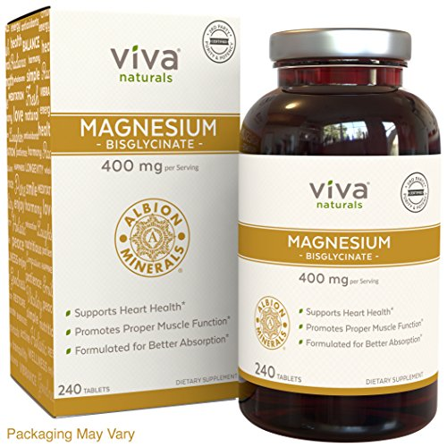 Viva Naturals Magnesium Bisglycinate Chelate: Highest Level of Absorption, 400mg Elemental Magnesium per Serving, 240 Tablets by Viva Naturals
