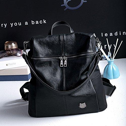 WTUS Mujer Bolsas de cuero de moda Viaje mochila para Mujer negro