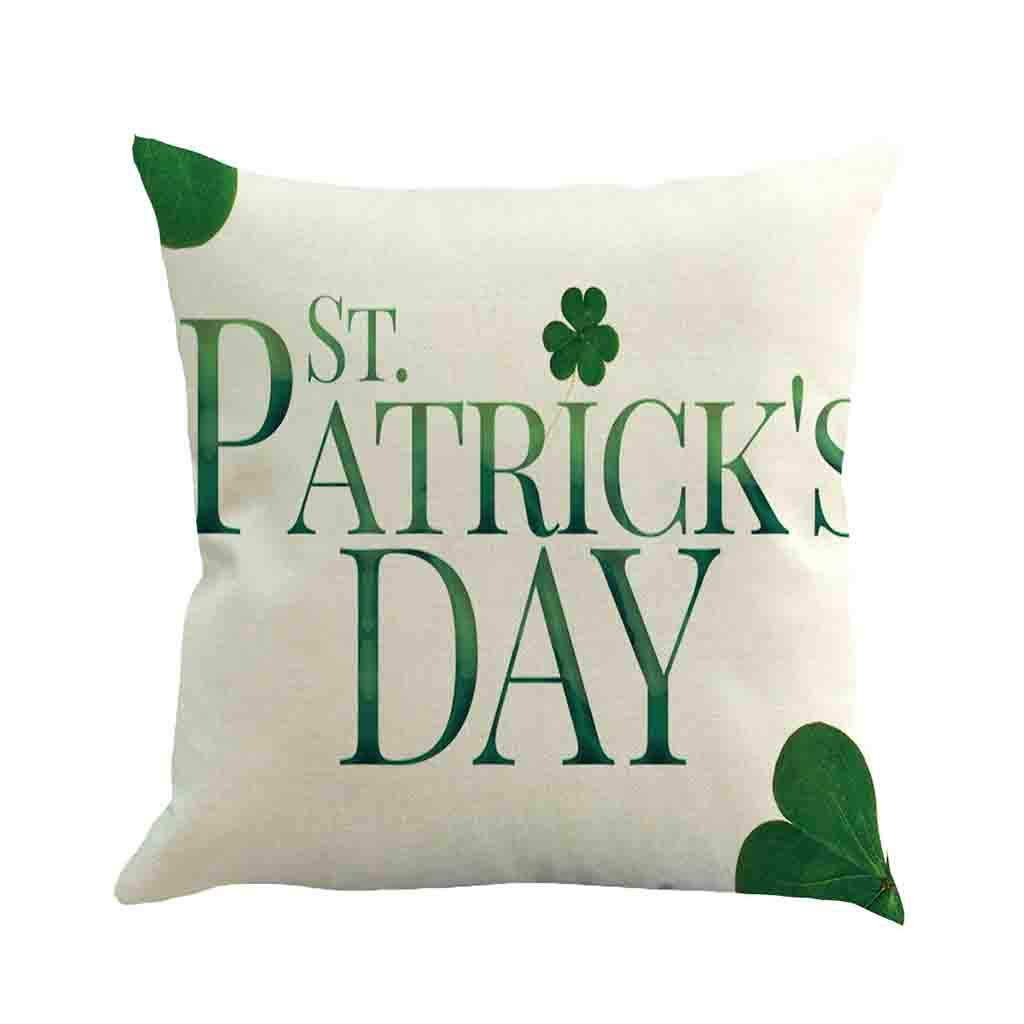 Siswong Happy St. Patricks Day Decorative Fashion Clover Design Cushion Cover Spring Green Leaves Decor Party Supplies