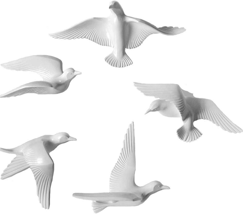 MOCOHANA 5 Pack Seagull Wall Decor Resin Flying Bird Sculptures 3D Wall Art Ornament Coastal Decorations Hanging for Home Bathroom Living Room Garden