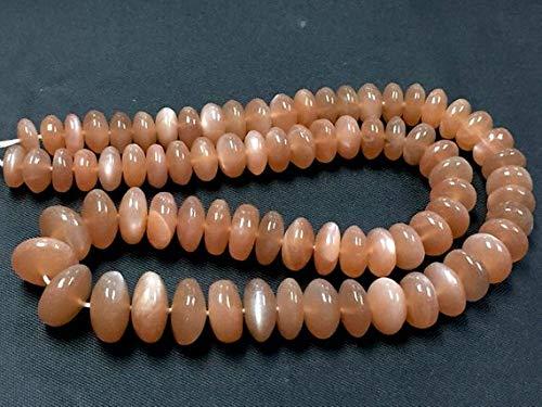 Beads Bazar Natural Beautiful jewellery Natural Peach Moonstone Smooth Gemstone Rondelle Gemstone Loose Craft Beads Strand 16