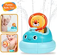 Baby Bath Toys- Water Spray Toys- Spinning Boat with Toy Lion- Bathtub Toys for Toddlers & Kids- Fun &