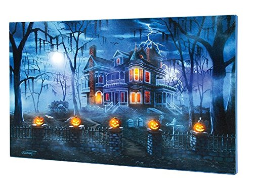 Ohio Wholesale Lighted Halloween Musical Magic Misty Haunted House Canvas 12 X 20