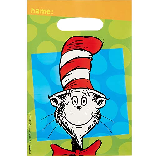 Amscan Dr. Seuss Favor Bags, Cat in the Hat Party Supplies, 6 1/2