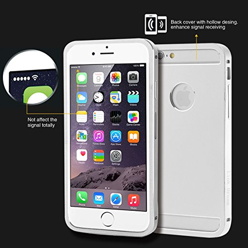 Foxnovo Fashion Durable Shockproof All Metal Aluminum Hard Back Case Cover Bumper Shell for 5.5-inch iPhone 6 Plus (Silver)