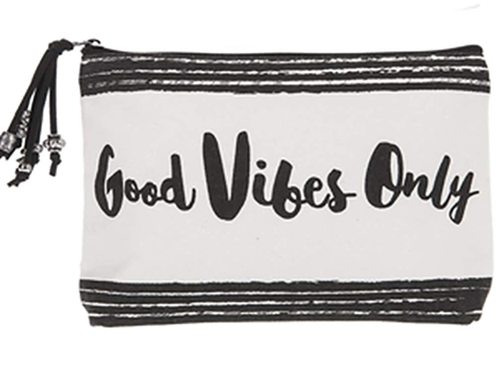 Ganz Black /& White Zippered PouchGood Vibes Only