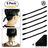 Eyeglass Strap, 6-Pack Elastic Eyewear Retainer Sports Safety Sunglass Holder Strap by ATHOMEY Microfiber Glasses Cleaning Cloth Included