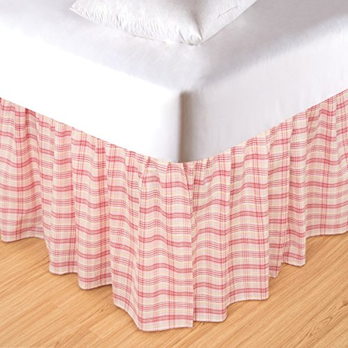 C&F Home 60X80 Queen Bed Skirt/Dust Ruffle, PINK - Ruffle Dust Plaid