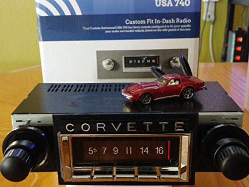 1968-1976 Chevrolet Corvette 300 watt USA-740 AM FM Car Stereo/Radio with built-in Bluetooth, AUX Inputs, Color Change LCD Digital Display Corvette Alarm