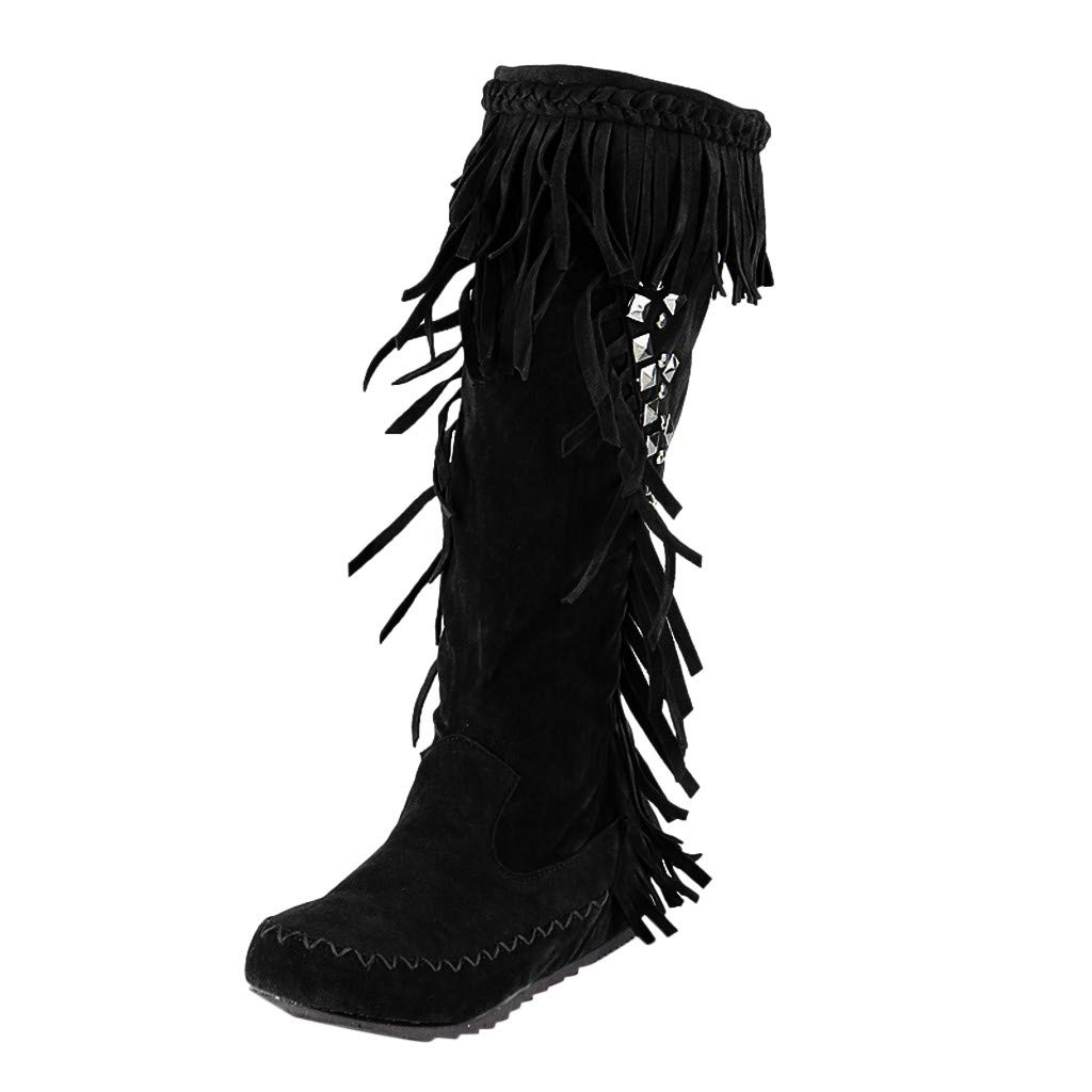 Fheaven Women Mid Braided Straps Calf Boots Tassel Low Heel Boots Bohemia-Style Slouchly Boots Shoes Rivets Long Boots Black by Fheaven-shoes