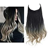 SARLA Ombre Hair Extension Black to Ash Blonde Synthetic Halo Hairpiece Curly Long Hair Pieces 16 Inch 3.9 Oz Hidden Wire Headband for Women Heat Resistant Fiber No Clip (M03&1BT16)
