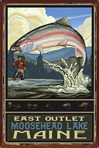 East Outlet Moosehead Lake Maine Rainbow Trout Fisherman Hills Rustic Metal Art Print by Paul A. Lanquist (24