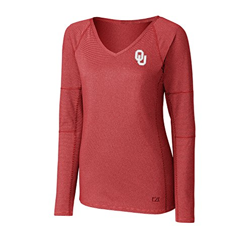 Oklahoma Embroidered Sleeve Long (Cutter & Buck NCAA Oklahoma Sooners Adult Women Long sleeve Victory V-Neck, Large, Cardinal Red)