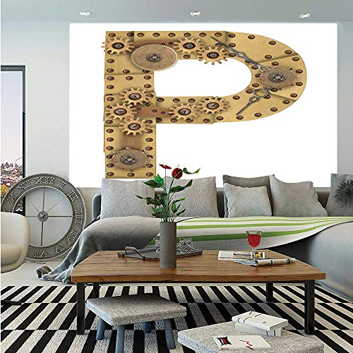 Letter P Huge Photo Wall Mural,Industrialization and Language Theme Capital P in Aged Design Copper Device Print Decorative,Self-adhesive Large Wallpaper for Home Decor 100x144 inches,Sand Brown ()