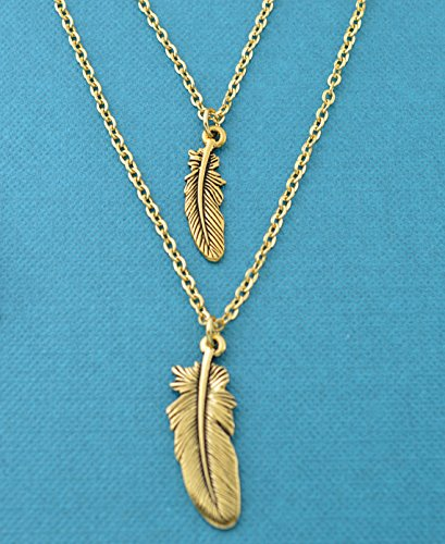 Mother Daughter gold plated feather necklace set. Feather necklace set. Bereavement gifts. Grief gifts. Bereavement jewelry.