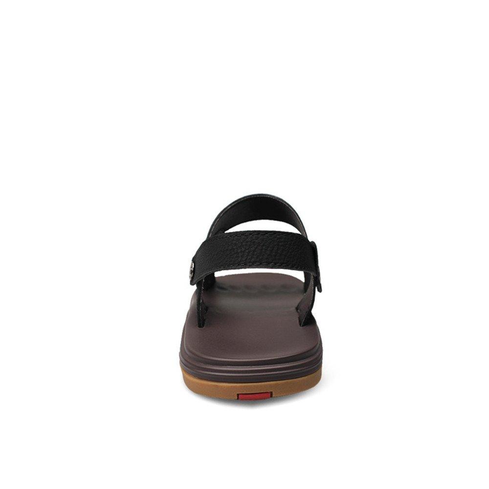 Juans-schuhe, Herren Sandale, Herren Classic Echtes Leder Strand Hausschuhe Casual einstellbar rutschfeste Sohle Sandalen Schuhe einstellbar Casual Backless (Farbe : Braun, Größe : 46 EU) schwarz 75e2a3