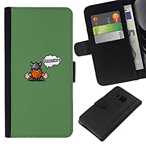 NEECELL GIFT forCITY // Billetera de cuero Caso Cubierta de protección Carcasa / Leather Wallet Case for HTC One M9 // Cute Funny Problemas Vikingo