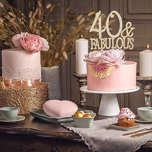 Jual 40 And Fabulous Gold Cake Topper Premium Sparkly Crystal