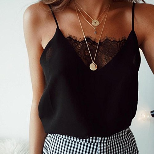 DEELIN Shirt Summer Neck Coton Noir en sans Femmes Dentelle Sexy T Manches Veste V xxrdw4H