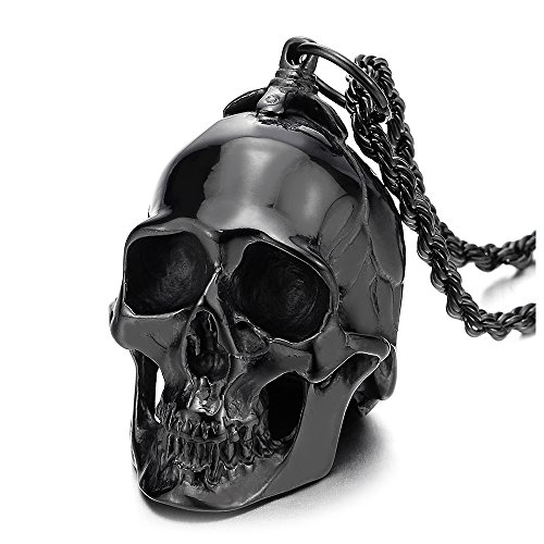 COOLSTEELANDBEYOND Large Stainless Steel Black Skull Pendant Necklace for Men High Polished with 30 Inches Wheat Chain