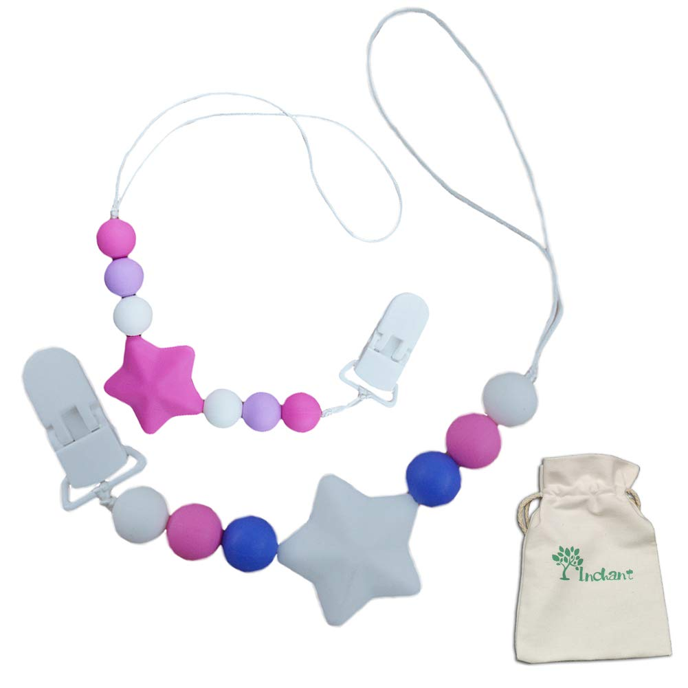 Silicone Pacifier Clip Beads by Inchant of 2 + Inchant Bag,Premium Quality Modern Designs Universal Holder Leash for Boys and Girls/Teething Toy or Soothie Baby Shower Toy Set by Letton