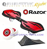 Red Razor Mini Ripstik Ripster Castor Board with PUNK RAMP & Extra Set of 68mm Red RIPSTER Replacement Wheels