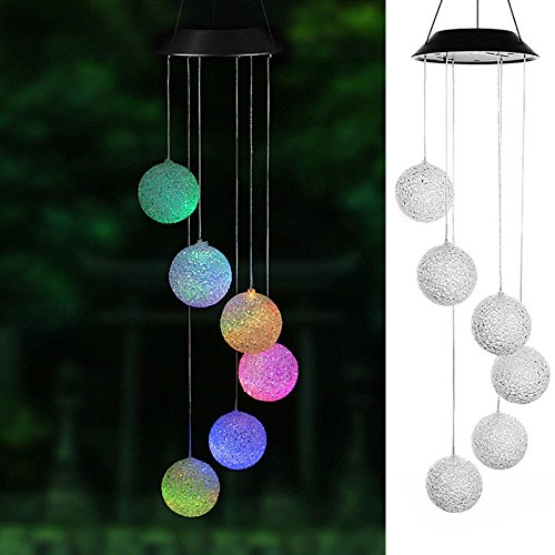 ixaer Solar Wind Chimes Outdoor Ball Shape 6 LED Light Hanging Chime Decoration Color Changing Wind Chimes Outdoor Nice Accessory Chime Lamp for Home Garden Park Wedding