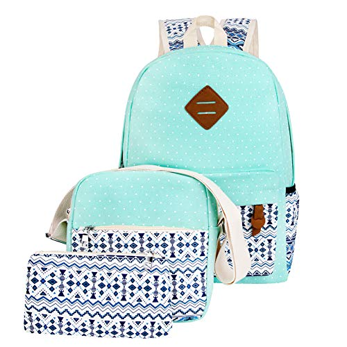 IF FEEL Girls Canvas Turquoise Green School Backpacks Bookbags Rucksack Daypack College Casual Bags For Teenages 3 Pieces