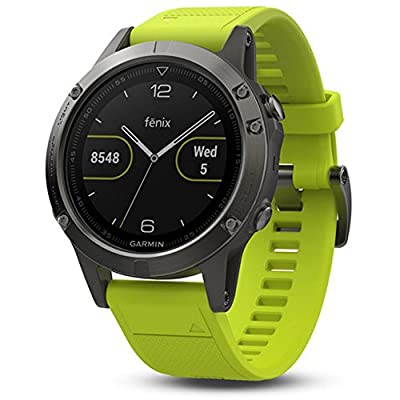 Garmin Fenix 5 Multisport 47mm GPS Watch Slate Gray with Amp Yellow Band (010-01688-02) with Universal USB Travel Wall Charger, Silicon Wrist Band for Garmin Fenix 5 Red & 1 Year Extended Warranty