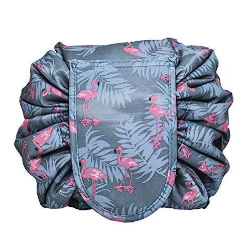 Lazy Makeup Bag Drawstring Cosmetic Bag Magic Travel Pouch Portable Quick Pack Waterproof Organizer Bags for Women,Blue Flamingo