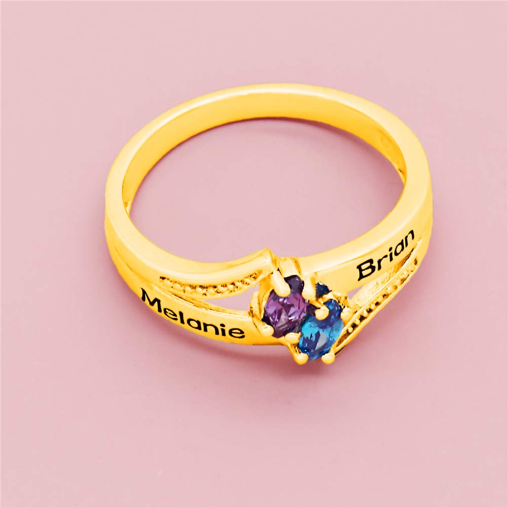 Yandam Custom Silver Rings Custom 2 Names and Birthstone Rings