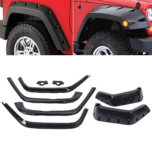 Honhill Fender Flares for 2007-2018 Jeep Wrangler Front & Rear Wheel Protector ABS Rivet Wheel Cover Pocket 4pcs Black