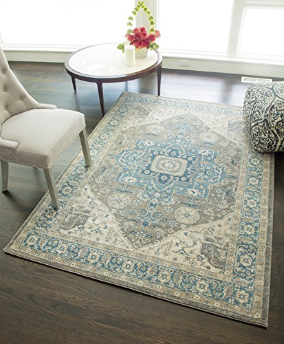 "Rugs America ET500A Area Rug, 5'3"" x 7'6"", Blue Gray from Rugs America"