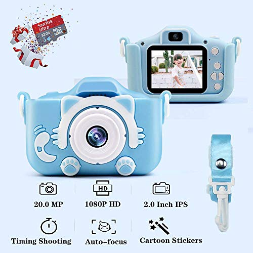 """Kids Camera, Children's Camera 1080P 20MP 2.0"""" FHD Timing Auto-Focus Shooting Video Recorder Shockproof Digital Camera for Kids Gifts Best Gifts for 3-10 Year Old Boys Girls with 32GB SD Card (Blue)"""