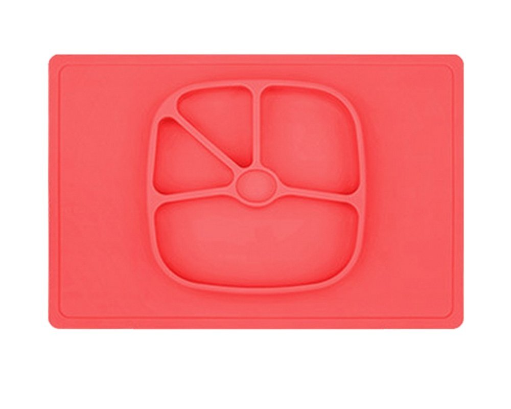 LLZJ Babies Silicone Suction Bowl Suction Stay Put Separate Placemat Anti-Fall Tableware Dishes Feeding Children's Toddler Antidérapant Training,Pink