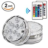 Submersible LED Light,Waterproof 16 Colors Remote Controlled LED Lamp for Aquarium Vase Base Pond Wedding Halloween Party (2)