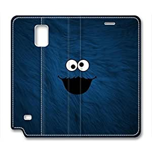 Samsung Galaxy Note 4 Case, iCustomonline Cookie Monster Background Leather Cover for Samsung Galaxy Note 4 Premium Soft PU Leather Wallet Cover - Verizon, AT&T, Sprint, T-Mobile, International, and Unlocked with Black PC Hard Case Inside for Samsung Galaxy Note 4
