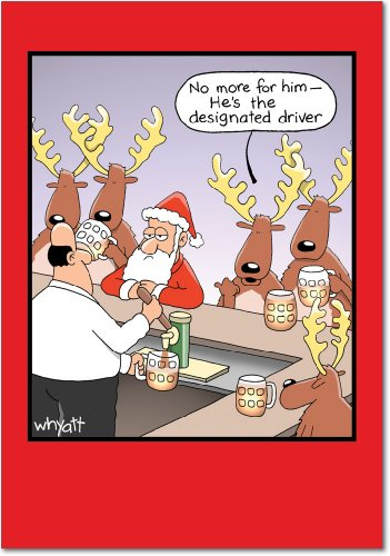 Note Driver Cards - Designated Driver - Box of 12 Funny Merry Christmas Cards with Envelopes (4.63 x 6.75 Inch) - DD Santa's Drunken Reindeer, Happy Holidays Notecard Set - Xmas Beer and Celebration Gift B1660